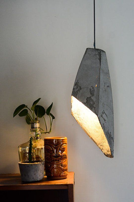 concrete diy pendant lamp.  One Material 15 Ways: Stylish Concrete DIY Projects for Home