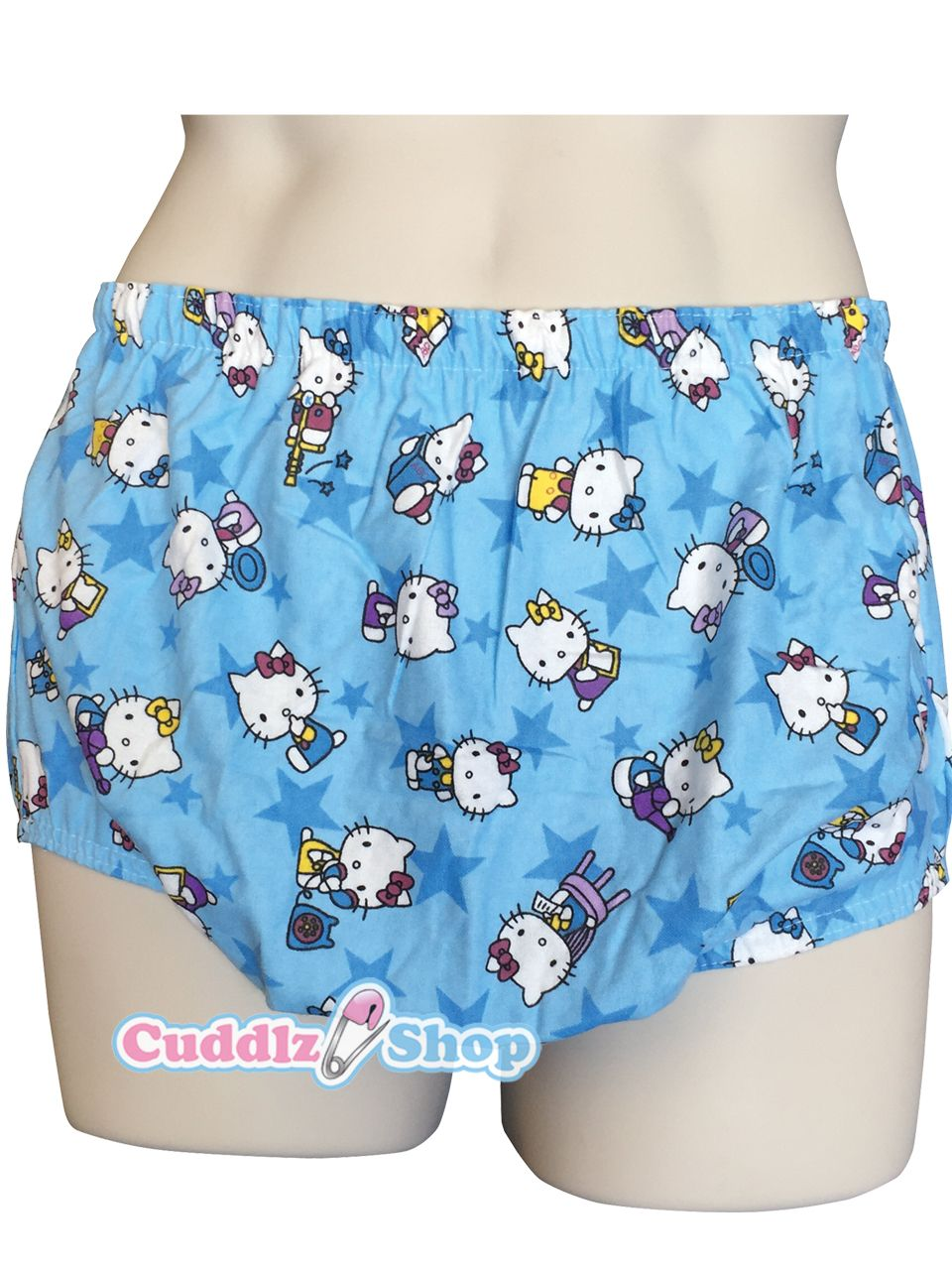Blue Kitty Cat Print PVC Plastic And Cotton Pull Up Pants For Adults ABDL  Diaper Lovers And Adult Baby PVC Pants