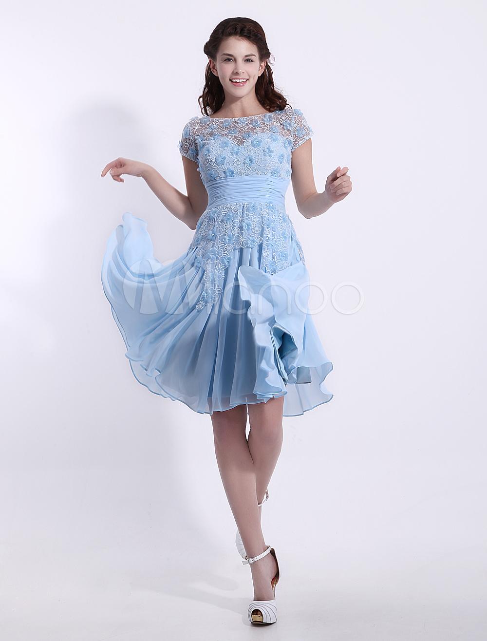 A-line Scoop Neck Lace Light Sky Blue Chiffon Bridesmaid Dress ...