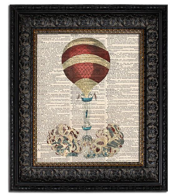 Items Similar To Hot Air Balloon 1 Steampunk Art Print Dirigible Airship Dictionary Nursery Decor Wall On Etsy