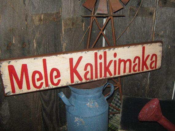 primitive holiday wood sign christmas in hawaii mele kalikimaka merry christmas in hawaiian hand painted decoration rustic housewares - Merry Christmas In Hawaiian Language