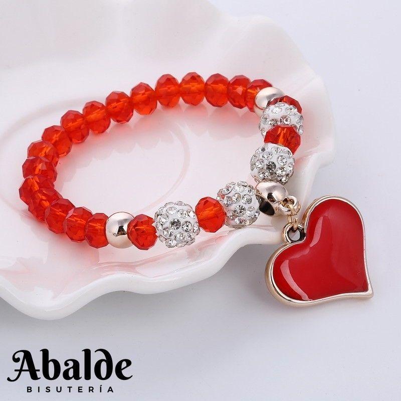 39216c3d2e22 Pulsera Mujer Cristal Cuentas Rojo Rosa Negro Corazón Amor Joya Regalo  ideal
