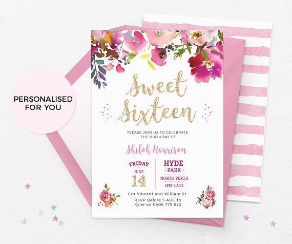 Sweet 16 invitations printable sweet 16 birthday invitations 16th sweet 16 invitations printable sweet 16 birthday invitations 16th birthday invitations floral sweet 16 party invitations gold pink invite filmwisefo