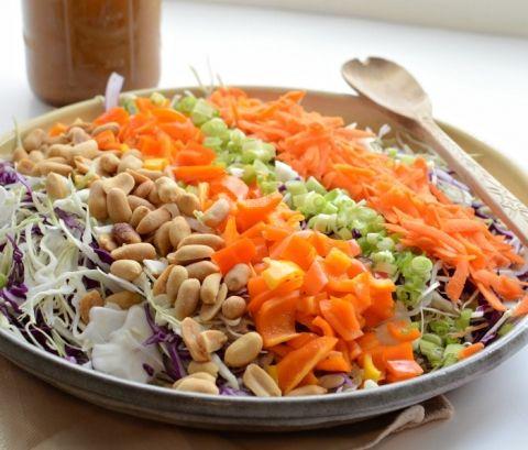 Chopped Asian Peanut Salad with Homemade Peanut Dressing