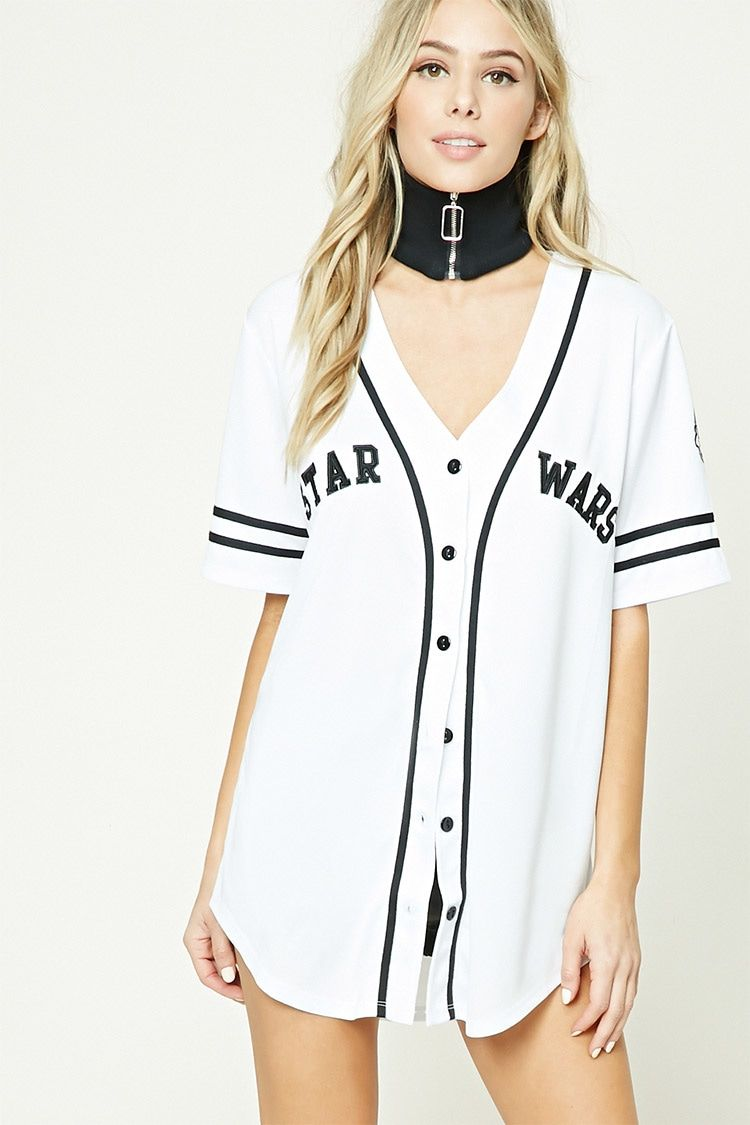 """A knit baseball jersey featuring a """"Star Wars"""" front"""