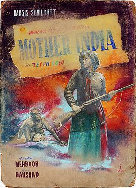 #Mother India (1957), hand coloured lobby card