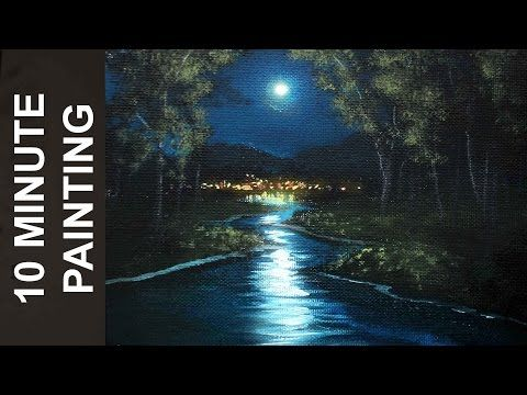 How To Paint A Stars A Moon And Clouds In A Night Sky A Basic Speed Painting T Landscape Painting Tutorial Oil Painting Tutorial Landscape Paintings Acrylic