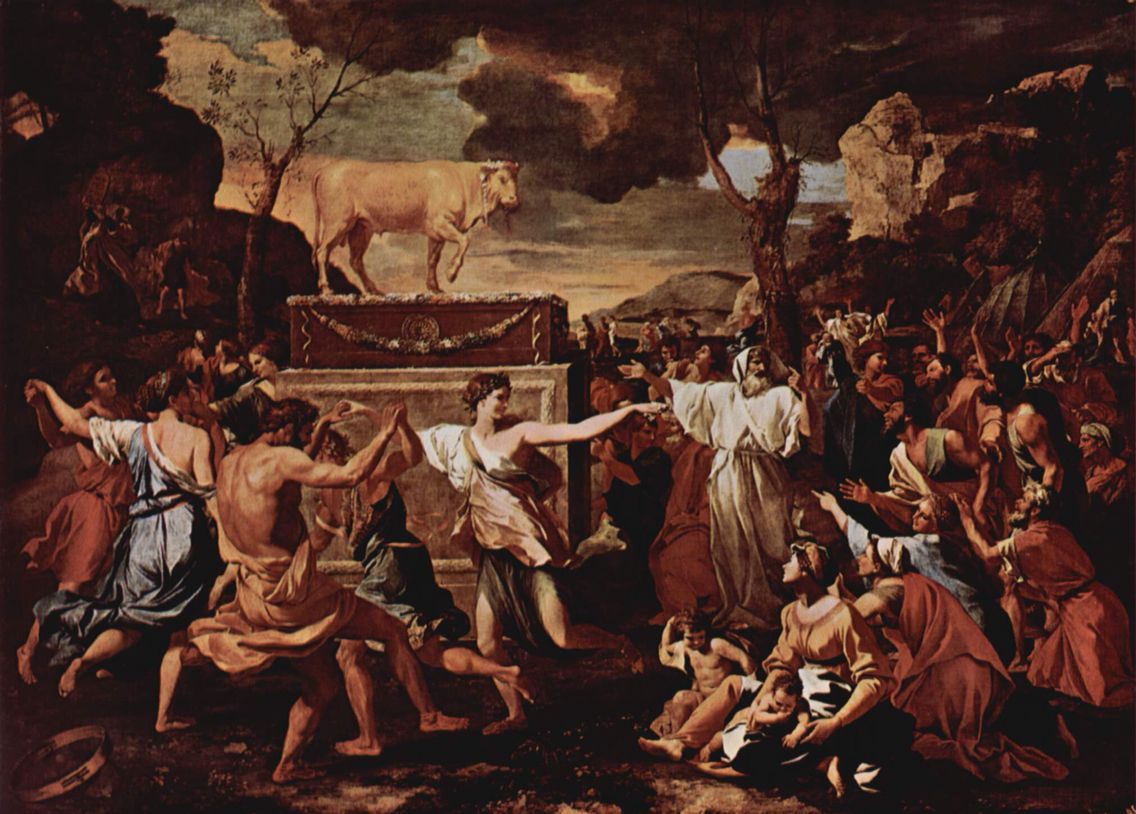 Free coloring page golden calf - Adoration Of The Golden Calf Poussin 1634
