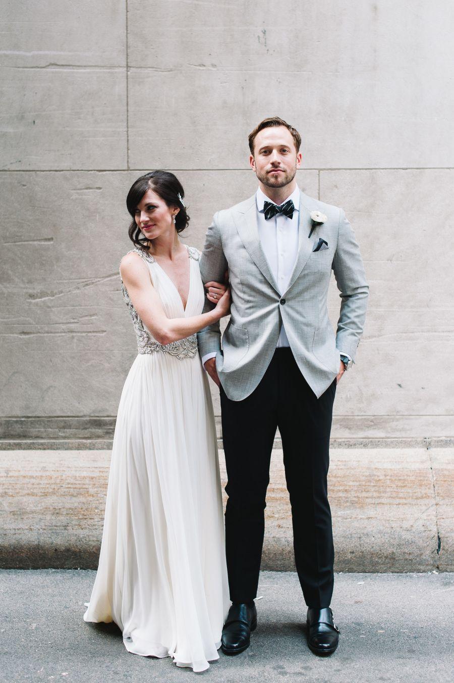 Modern black white chicago wedding