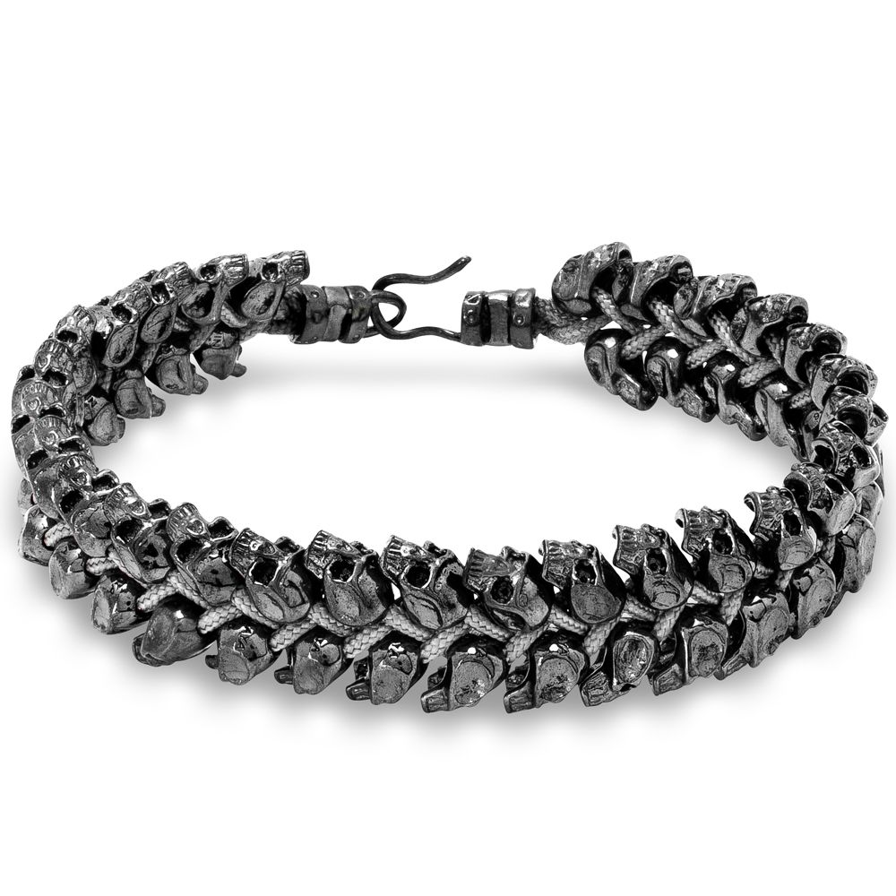 Nialaya - KRMA - Men's Silver Skull String Bracelet - Browse the collection at krma.com today! #Nialaya #krma #hellokrma #spring #fashion #springfashion #springseason #2013 #new #trend #trendsetter #fashionista #musthave #loveit #love #needit #jewelry #jotd #potd #designer #gold #diamond #diamonds #necklace #bracelet #ring #earrings #armswag #armparty #armcandy #wishlist #skull #skeleton #gq #mensfashion #mensaccessories #mensstyle #mensjewelry #womensfashion #womensjewelry