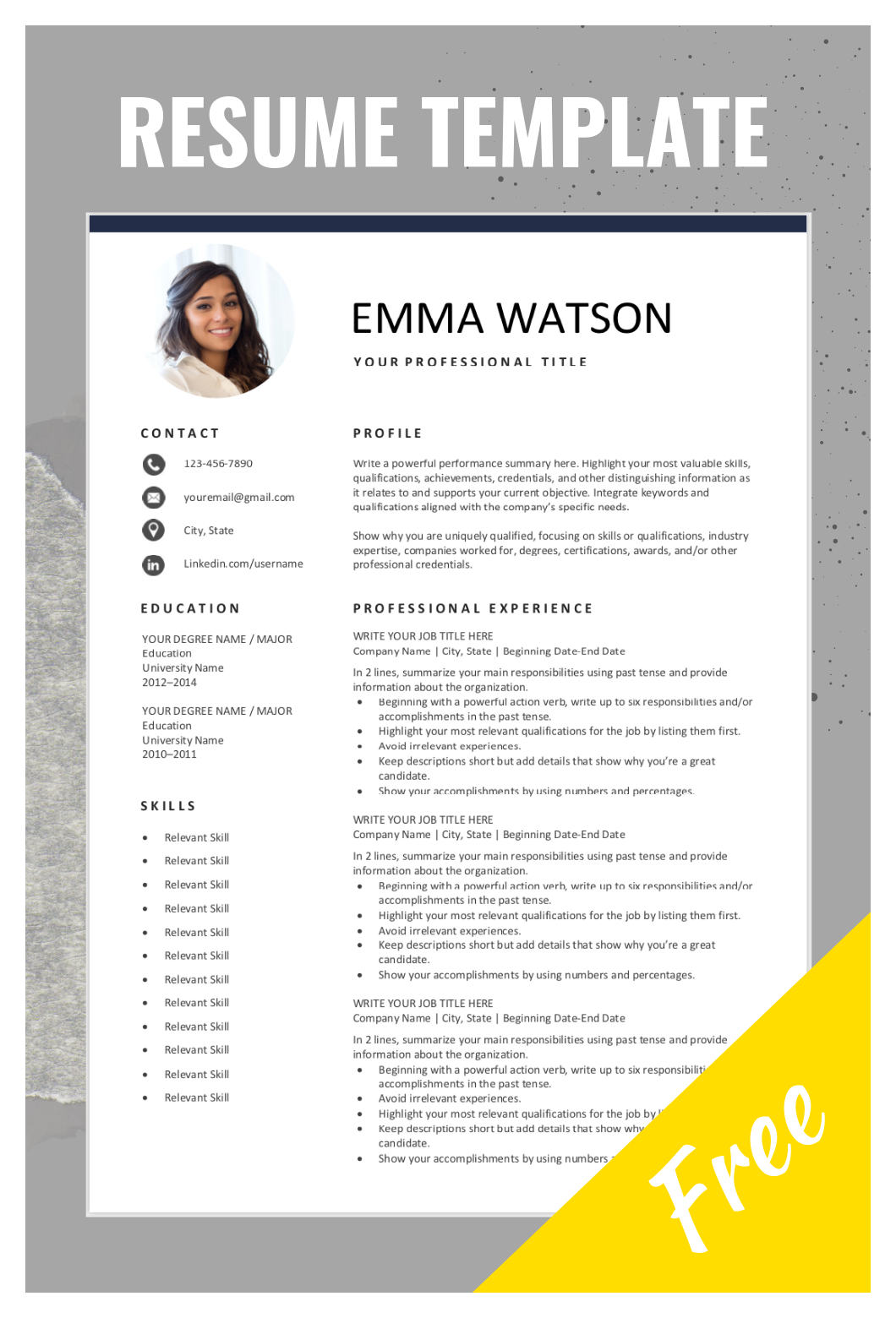 Free Resume Template With Photo Cv Template Free Download Our Free Resume Tem Free Resume Template Word Teacher Resume Template Teacher Resume Template Free