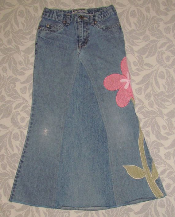 Girls Long Modest jean skirt size 8 by EastCoastSkirts on Etsy, $12.50