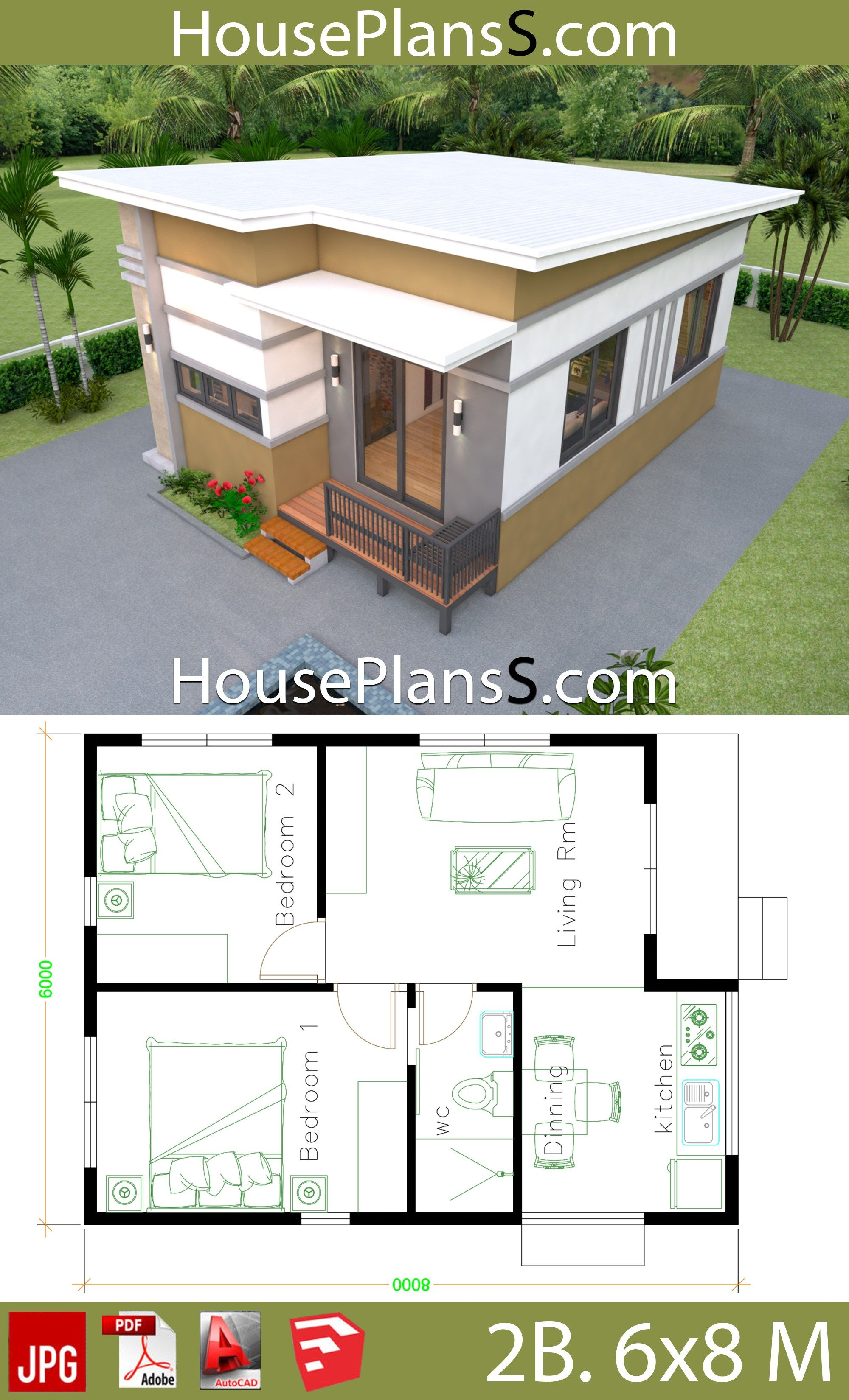 Small House Design Plans 6x8 With 2 Bedrooms House Plans 3d Small House Design Plans Small House Design Dream House Pictures