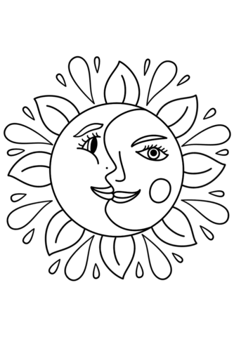 Trippy Sun and Moon Coloring page | Templates: objects | Pinterest