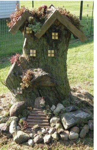 Fairy House From A Tree Stump Cute Outdoors