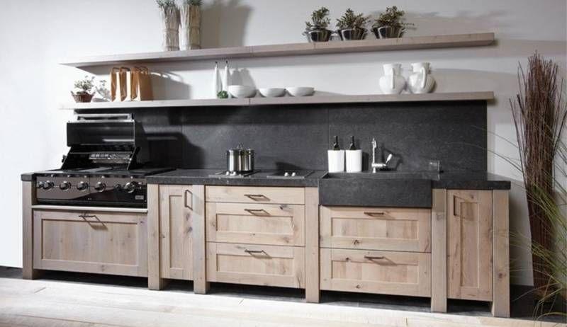 Keuken spoelbak landelijk - Keuken steen en hout ...
