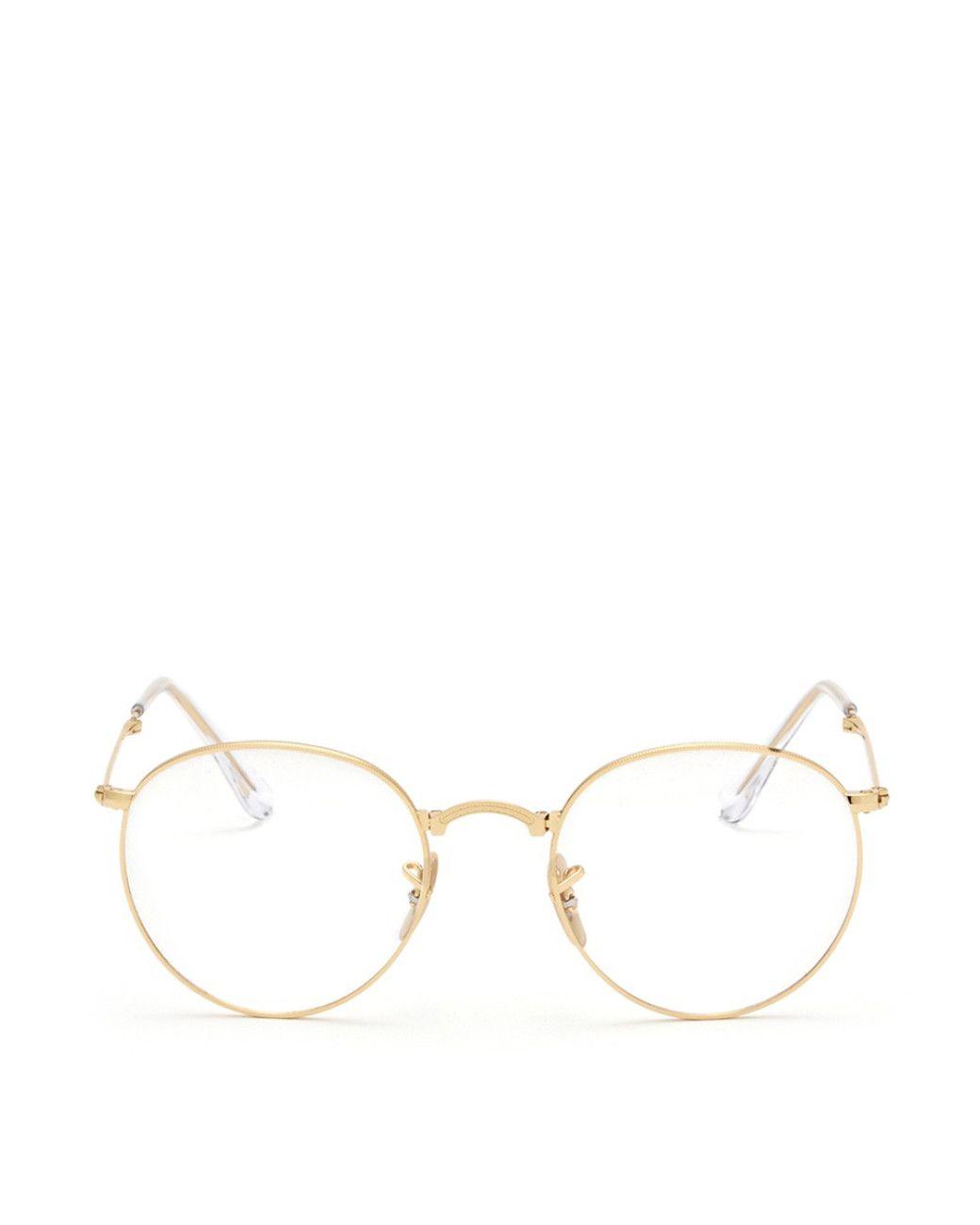 cc7b5f550012 Ray-Ban   Gold 'rb3532' Round Metal Folding Optical Glasses   Lyst ...