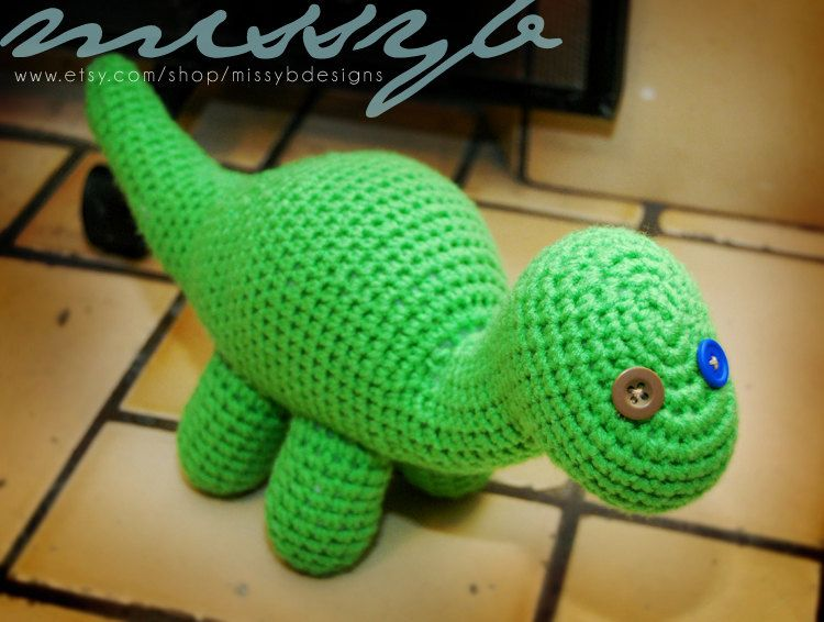 Amigurumi Dinosaur Free Pattern : Pdf pattern crochet dinosaur pattern bob the dinosaur stuffed