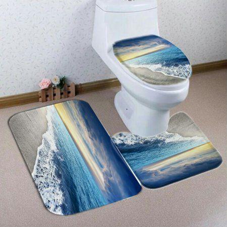 5 Piece Sea Wave Style Home Hotel Bathroom Sets Polyester Fiber