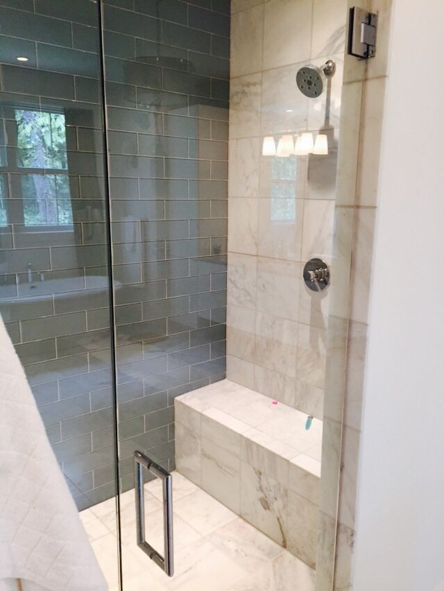 Curbless Zero Entry Shower Linear Drain Glass Subway Tile