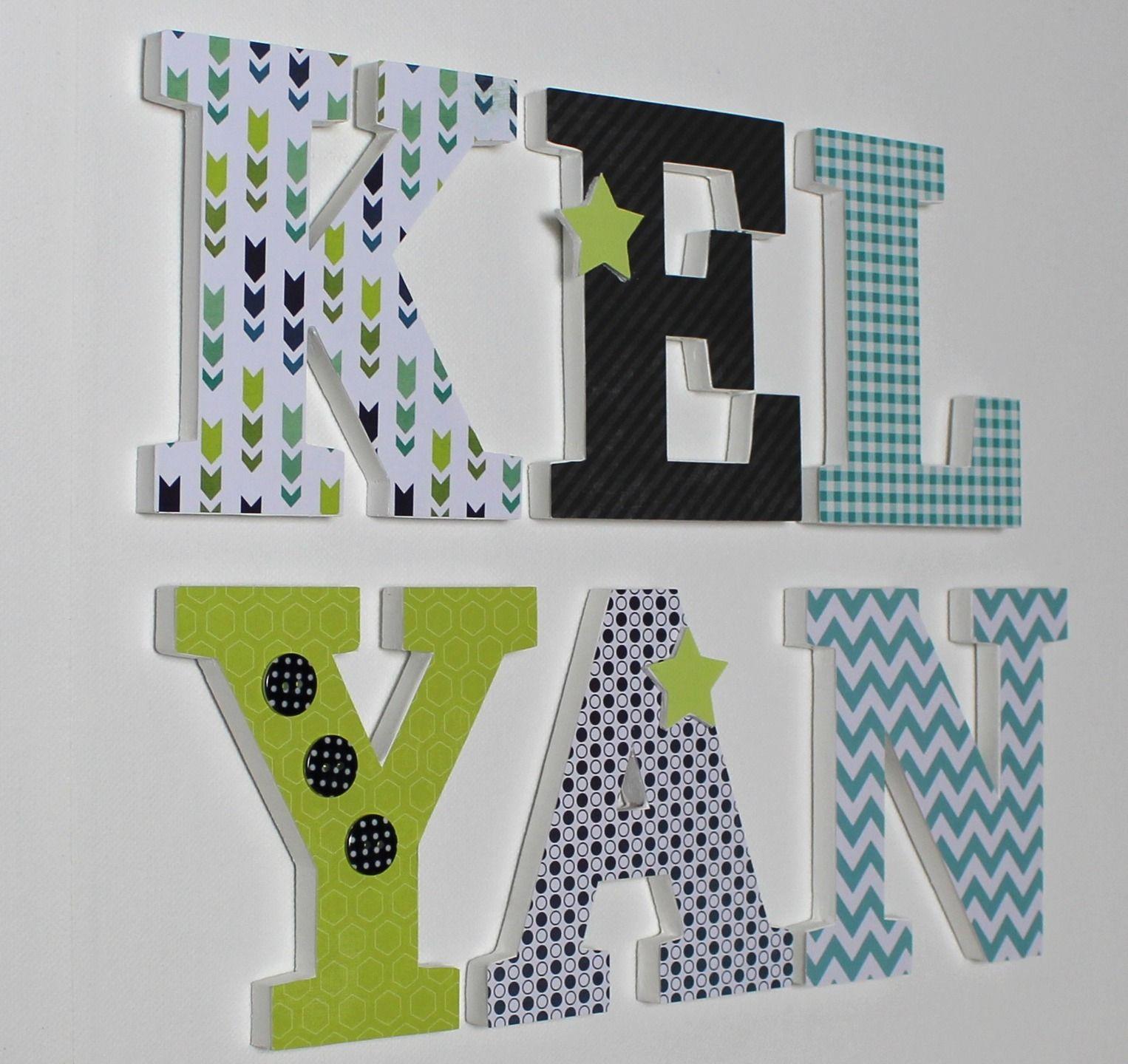 Lettres en bois prénom KELYAN bleu vert gris style scandinave