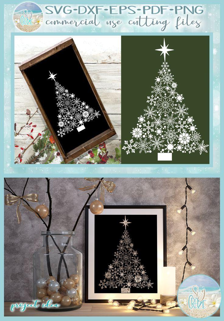 Snowflake Christmas Tree with Star SVG Star svg, Svg