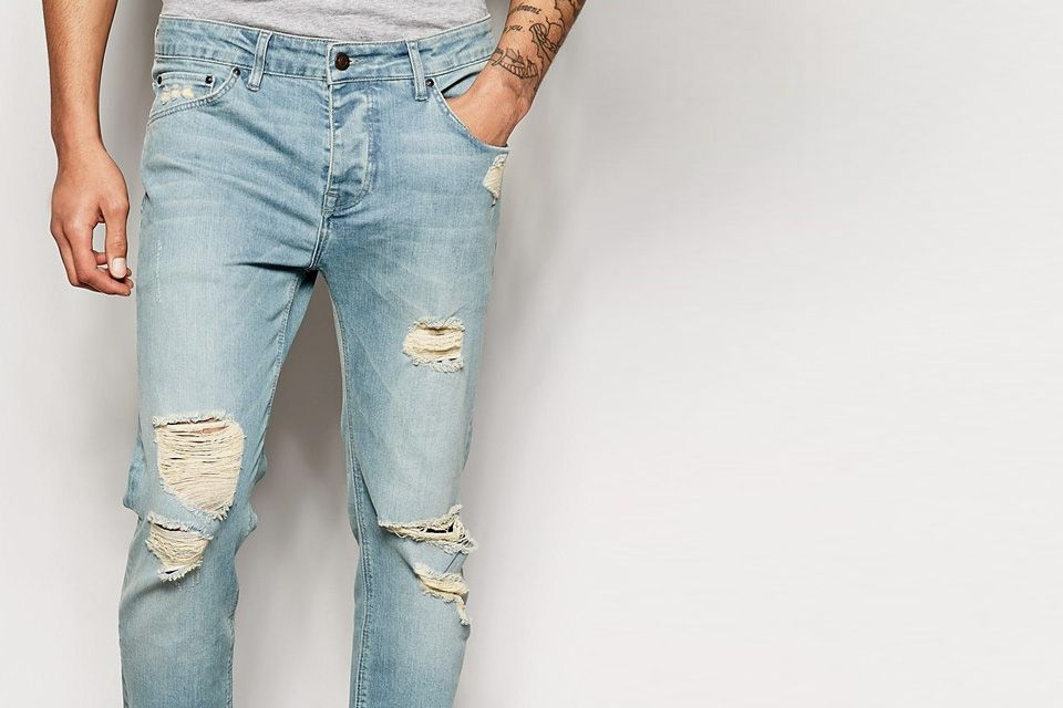 mens slim ripped jeans - Jean Yu Beauty