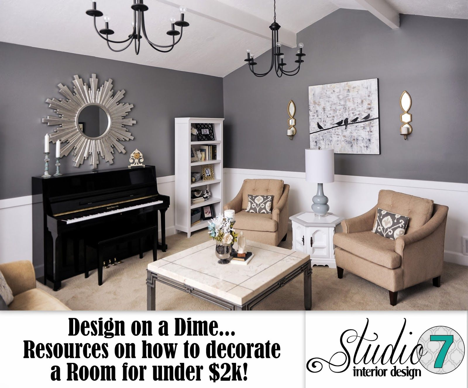 design on a dime, living room, white, gray, charcoal, gold