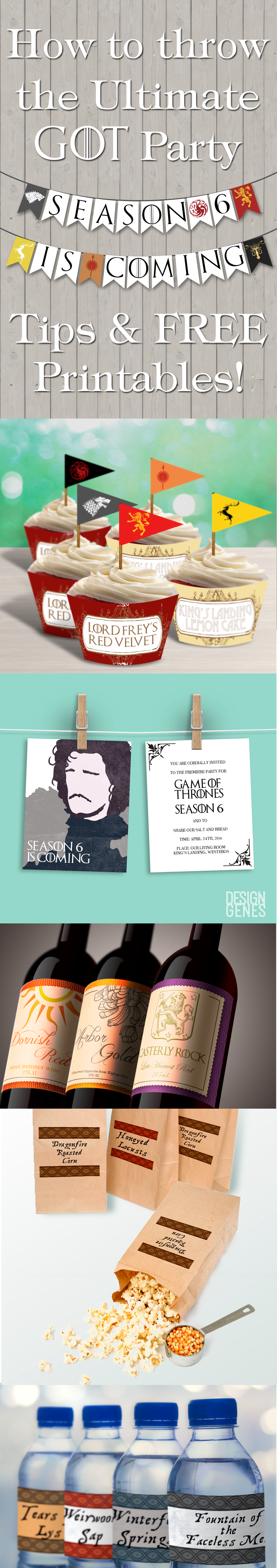 Can't wait til April 24th? These FREE Game of Thrones Party Decor got you covered! How to throw the ultimate GOT party, tips & free printables from www.designgenesstudio.com