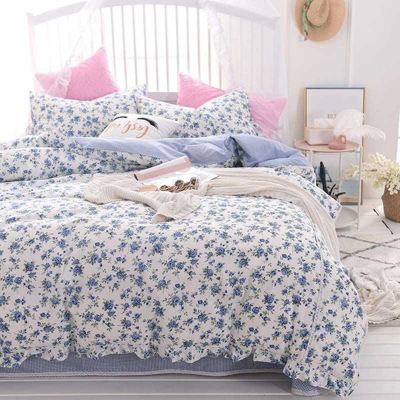 Modern Rural Bedding Set Blue Flower Bedclothes Soft Cotton 4pcs