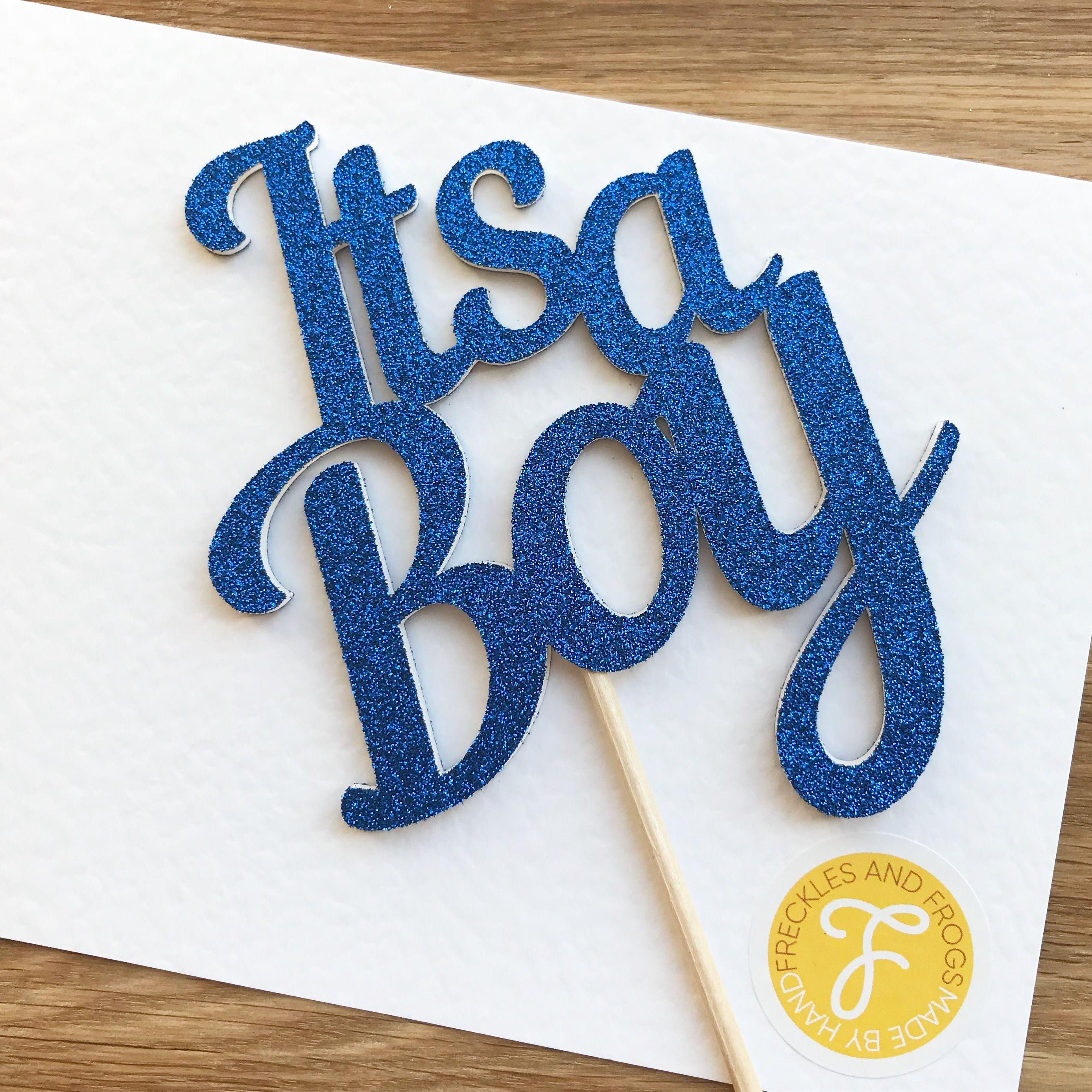 Its A Boy Cake Topper Glitter Blue Baby Shower Baby Boy Cake Decorations Baby Shower Decorations By Baby Boy Cakes Diy Baby Stuff Happy Birthday Font