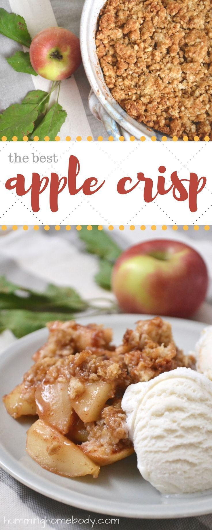 The topping on this apple crisp is packed with buttery, sugary, crumbly goodness. Apple crisp is the perfect fall dessert. Recipe includes modifications for different types of apples. #fallfoods