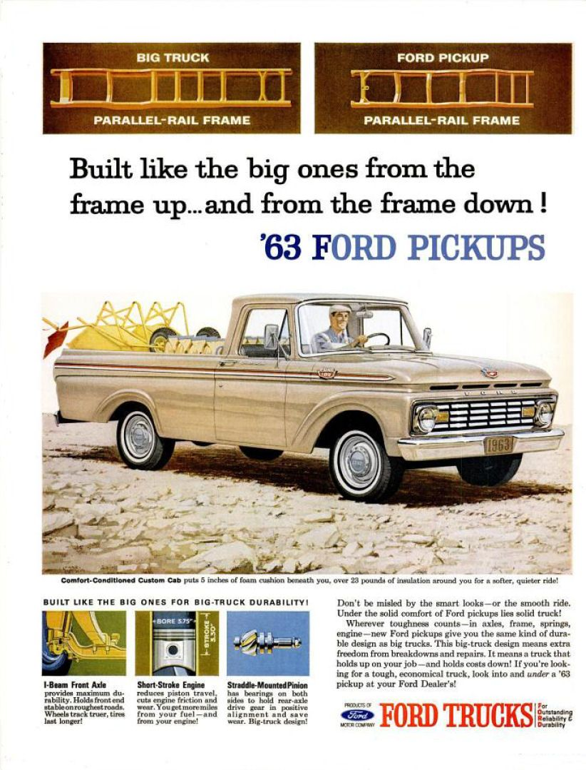 1963 ford truck ad garage pinterest folletos for Garage ford peronne 80
