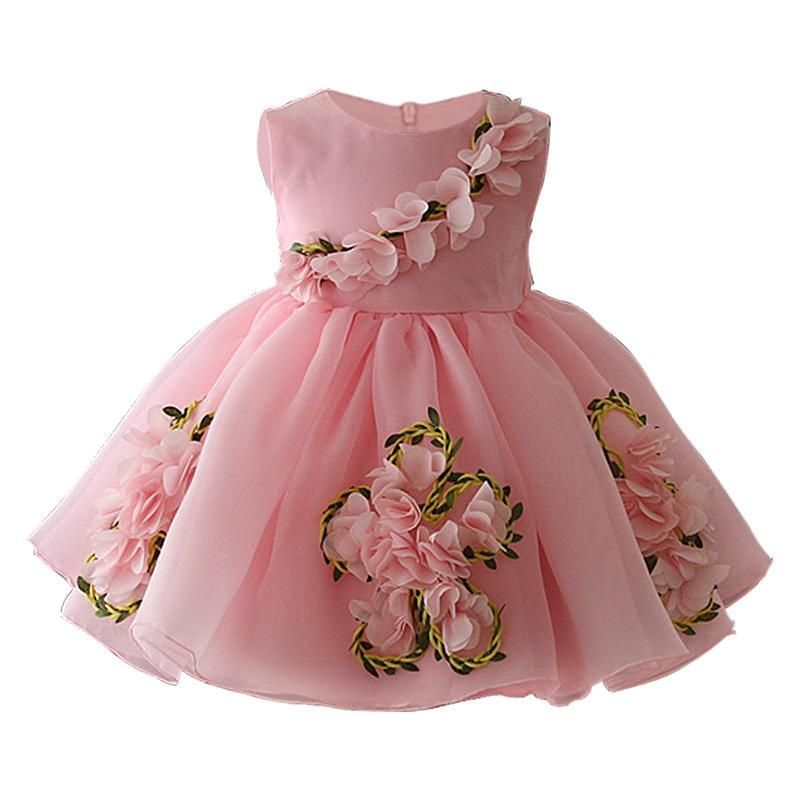 New Baby Girl Dresses Party Wear Sleeveless Wedding Tulle Princess Kids Clothes