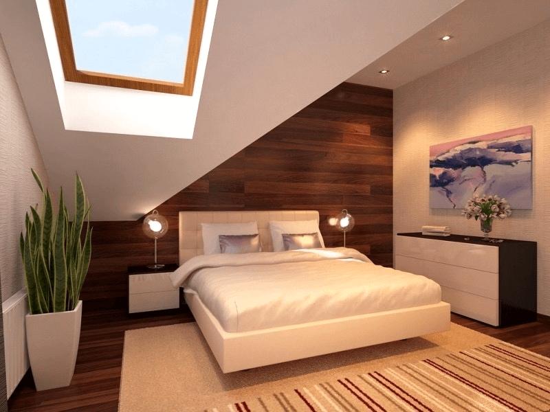 Schlafzimmer deko mit schräge und Blumentopf Interieur ...