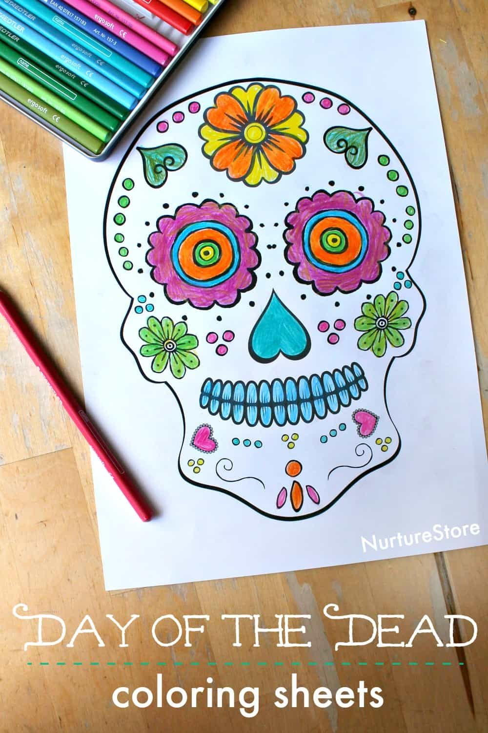 Day Of The Dead Skull Coloring Sheets For Children Printable Sugar Colouring Sheet