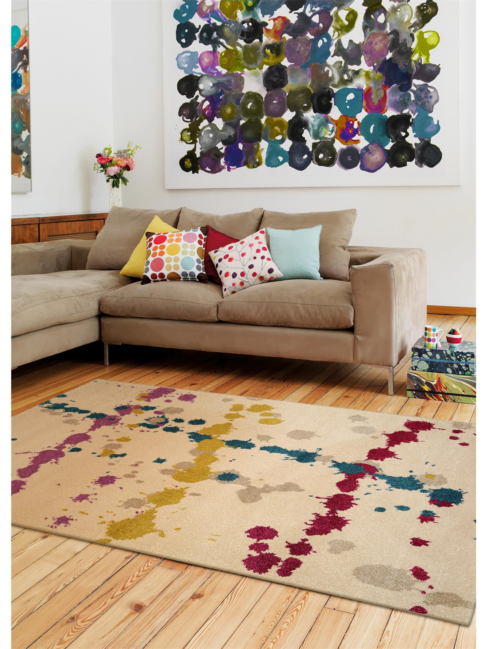 Farbexplosion Im Wohnzimmer Benuta Teppich Colour Drops Modern Wool Rugs Handmade Wool Rugs Floral Rug