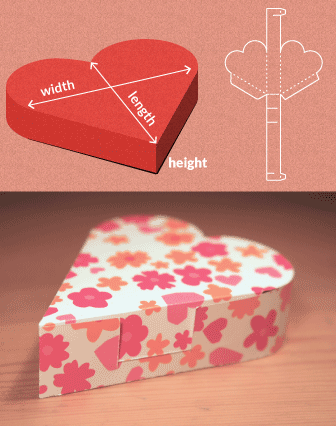 7e953b8b636e Completely custom sized template for a Heart Shaped Box CREATE CUSTOM BOXES  BASED ON YOUR DIMENSIONS