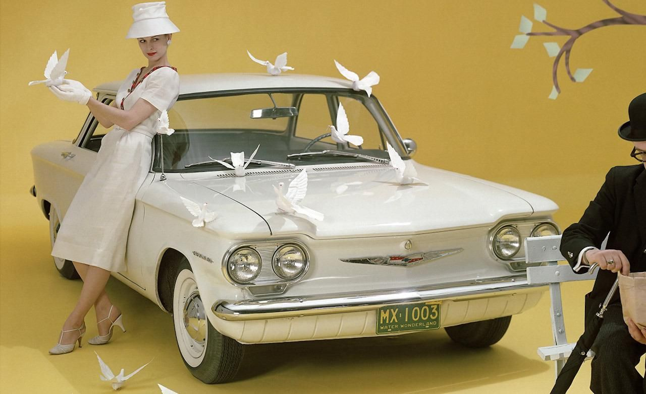A bit of fun with tthis promo image for the 1960 chevrolet corvair 500 sedan