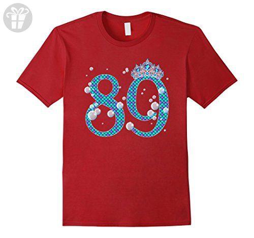 Mens 89 Year Old Shirt Mermaid 89th Birthday TShirt 2XL Cranberry