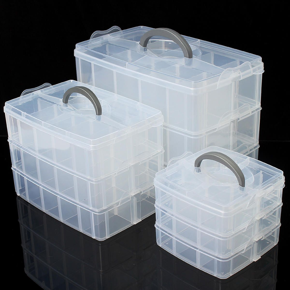 Plastic Jewelry Bead Storage Box Container Organizer Layer Case 3 Craft D8W9