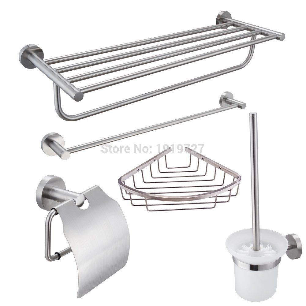 Stainless Steel 5-Piece Bathroom Accessories Kit Brushed Hardware ...