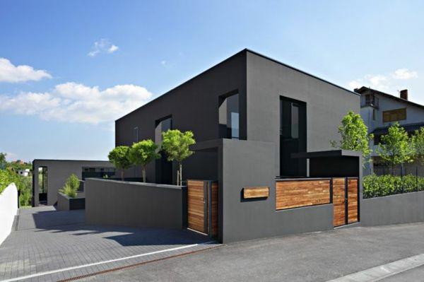 Graue Fassade Mauer Exterieur Bäume