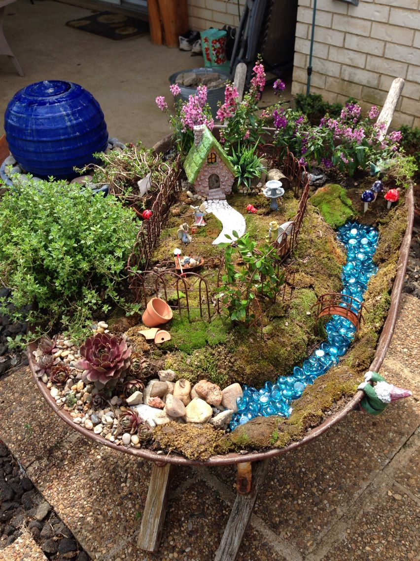 Fairie garden in an old wheelbarrow