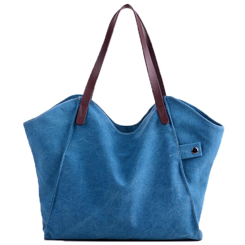 74b4f4eb327 Fanspack Womens Canvas Hobo Handbags Large Tote Shoulder Bag Top Handle  Shopper Bag Purse