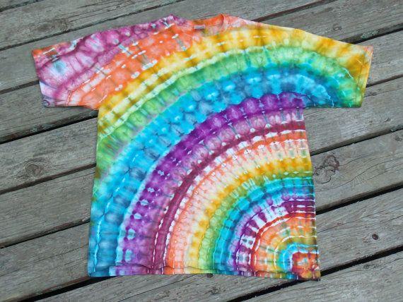 Custom Made Tie Dye Rainbow Rays T-shirt / Ice Dyed Rainbows by PiecefulWorlds