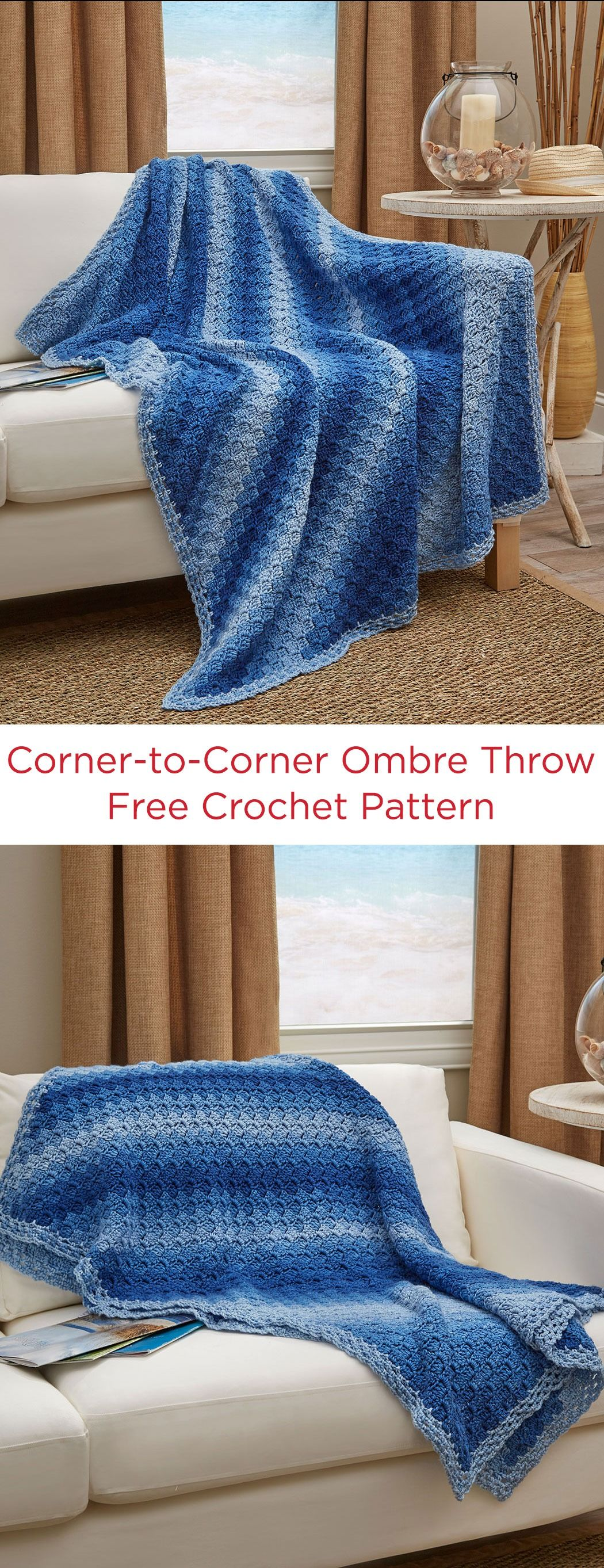 Corner To Corner Ombre Throw Free Crochet Pattern In Red