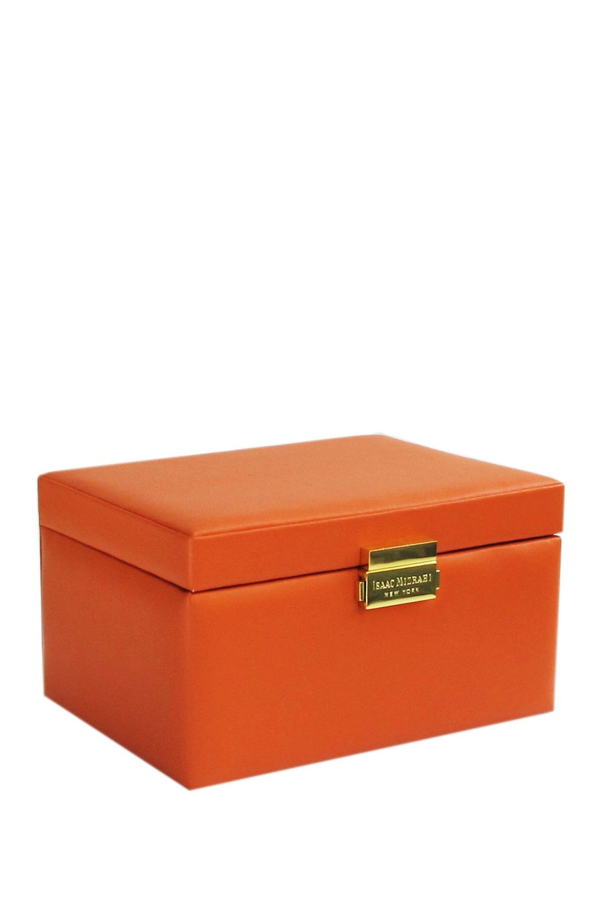 Isaac Mizrahi Orange Faux Leather Jewelry Box by Jay Import on