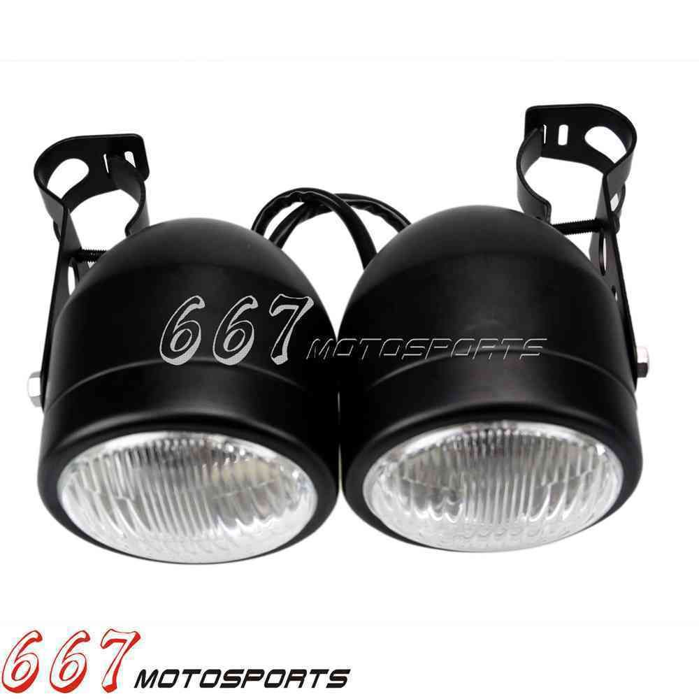 Black Dominator Twin Headlights Streetfighter Headlight With 28-34mm Brackets