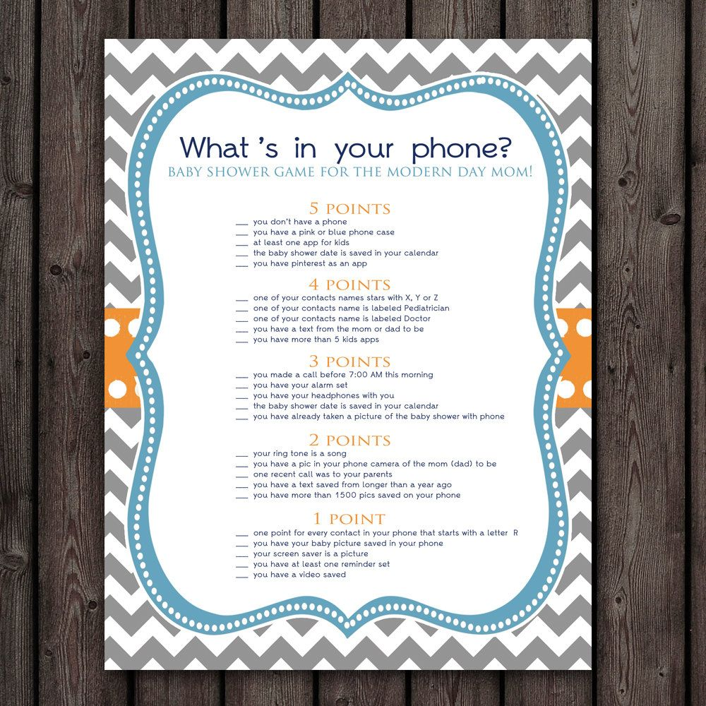 whats in your cell phone baby shower game by